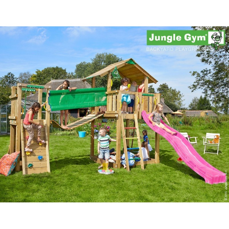 jungle gym speeltoren met loopbrug en klimwand chalet bridge goedkoop kopen bij. Black Bedroom Furniture Sets. Home Design Ideas