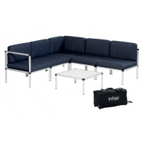 Inflair portable aluminium loungeset superior marineblauw
