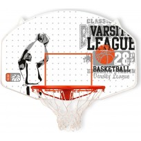 New Port Basketbalbord met Ring en Net - Wit/Grijs/Oranje